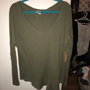 Army Green V Neck Sweater with Elbow Pads